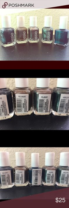 Essie nail polish bundle taupes These are four Essie and I threw one forever 21 color as a bonus. The Essie colors are from the reptile collection, and include: Snake it Up, Repstyle, Lil Boa Peep, and Crocadilly. The Forever 21 color is Peacock. Essie Other