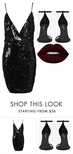 """Untitled #5881"" by adi-pollak ❤ liked on Polyvore featuring Boohoo, Yves Saint Laurent and Lime Crime"