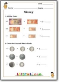 Adding Rupees and Paise, Math Money Addition and Counting, Class 1 Worksheets