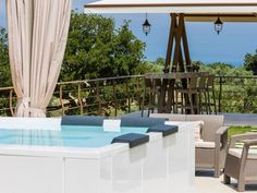 Atsipopoulo house rental - Additionally, an extra outdoor sitting area can be found at the Jacuzzi gazebo! Sitting Area, Jacuzzi, Gazebo, Villa, Relax, Canning, Treehouse, Outdoor Decor, Modern