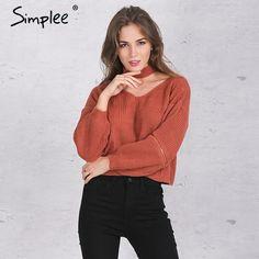 Simplee 겨울 고삐 니트 따뜻한 스웨터 캐주얼 느슨한 지퍼 오픈 소매 풀 팜므 가을 트리코 짧은 블랙 풀오버 점퍼