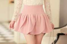 Soft Rose Petal skirt with lace long sleeve shirt