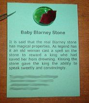 Baby Blarney Stone - legend printed onto cardstock with a flat green marble and lip confetti glued on. I made these for St. Patrick's Day 2004. www.scoutmom.net