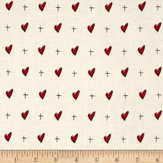 """Mary Fons Small Wonders 108"""" Quilt Back Signature Hearts Cream from @fabricdotcom  From Sprints Creative Products, Group, LLC, this cotton print fabric is perfect for quilting, apparel and home decor accents. Colors include ivory, red and black."""
