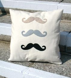 3 Felt  Moustaches Pillow COVER ONLY  3 Felt Mustaches by bambina, $37.00