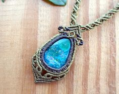Macrame Necklace with CHRYSOCOLLA paste cabochon. by QuetzArt