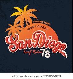 San Diego Vintage Graphic.Grunge effects.Vintage card design.Vintage print. t-shirt print. Palm Tree Drawing, Printed Shirts, Tee Shirts, Krishna Painting, Rocker Style, Cool, Art For Kids, San Diego, Grunge