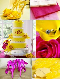 Color Palette Yellow And Hot Pink Oh That Cake Weddings