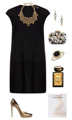 """Golden."" by marykatetus on Polyvore featuring MuuBaa, Sarah's Bag, Casadei, Oscar de la Renta, Giorgio Armani, Calvin Klein, Blue Nile, Zoë Chicco, women's clothing and women's fashion"