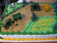 perfect for his fourth birthday. or his 3 birthday ; perfect for his fourth birthday. or his 3 Tractor Birthday Cakes, Tractor Cakes, Farm Cake, Farm Party, 2nd Birthday, Birthday Ideas, Birthday Cupcakes, Party Cakes, Cake Decorating