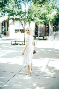 Lace Midi Dress In White With Short Sleeves - Poor Little It Girl