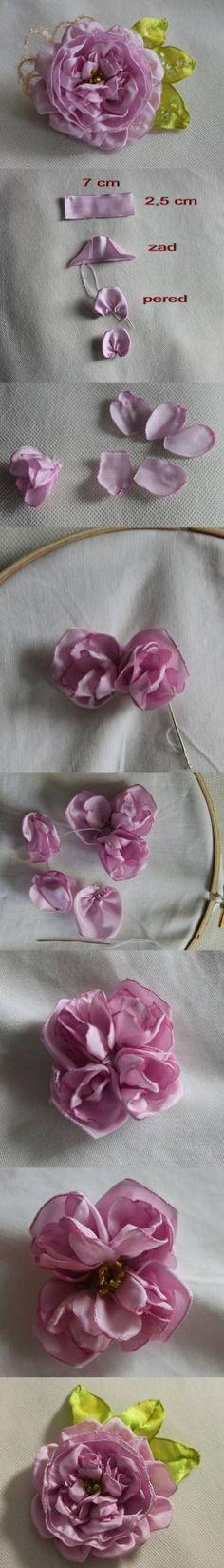 DIY English Rose Brooch Tutorial DIY English Rose Brooch Tutorial by diyforever Ribbon Art, Diy Ribbon, Fabric Ribbon, Ribbon Crafts, Flower Crafts, Cloth Flowers, Fabric Roses, Lace Flowers, Fleurs Kanzashi