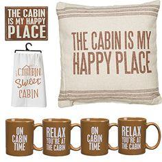 Cabin Lovers Deluxe Home Decorators Gift Set Jumbo Pillow Decorative Wall Sign Printed Kitchen Towel Set of 4 Mugs ** Visit the image link more details. Cabin Kits, Cabin Ideas, Alaska Cabin, Lake Cabins, Log Cabin Homes, Lodge Decor, Cabin Design, Cozy Cabin, Block Lettering