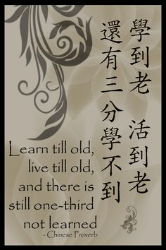 Chinese Proverb - Learn till old, live till old, and there is still one-third not learned. One must always embrace learning Life Story Quotes, Qoutes About Life, Zen Quotes, Chinese Phrases, Chinese Quotes, Chinese Words, Value Quotes, Chinese Lessons, Chinese Proverbs