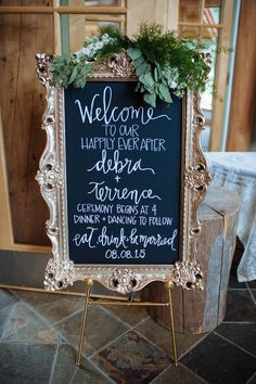 Elegant gold-framed chalkboard wedding signage | Erica Rose Photography
