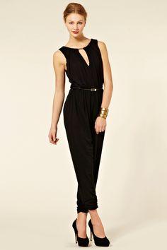 Black drape jumpsuit. Elegant!