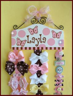 HAIR BOW HOLDER - Personalized Custom Orders - Shades of Pink and Brown - Butterfly Your Choice on Etsy, $79.95
