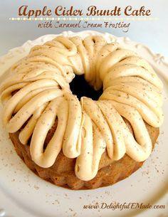 Apple Cider Bundt Cake with Caramel Cream Frosting
