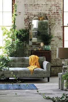 Wall texture + Green + Exposed brick + Hardwood floors + Floor to ceiling windows = love