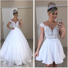 Amazing white prom dress with top lace long/short prom dress - Schöne ballkleider - brautkleid Cheap Bridal Dresses, Top Wedding Dresses, Wedding Dress Trends, Bridal Gowns, 2 In 1 Wedding Dress, Red Wedding, Convertible Wedding Dresses, Gothic Wedding, Gown Wedding