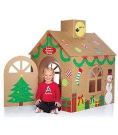 Risultati immagini per christmas cardboard playhouse Cardboard Gingerbread House, Cardboard Box Houses, Cardboard Box Crafts, Cardboard Playhouse, Christmas Gingerbread, Noel Christmas, All Things Christmas, Christmas Crafts, Christmas Decorations