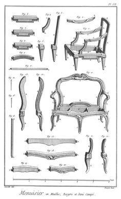 Furniture Design Reference: Diagrams of 18th Century Furniture Broken Down Into…