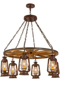 "FREE Shipping Meyda Tiffany Custom Made to Order SKU 160381 40""W Miner's Lantern Wagon Wheel 6 LT Chandelier Colors Rust Availability Ships in 7-8 weeks Exuding Western charm and personality, this dramaticwooden wagon wheel chandelier is a hand-craftedtreasure with six authentically styled Miner Lanternsfeaturing Clear glass diffusers and detailed profilesand hardware finished in a Rust. The chandelier isideal for a lobby or entryway in a home, lodge, inn orother commercial space…"