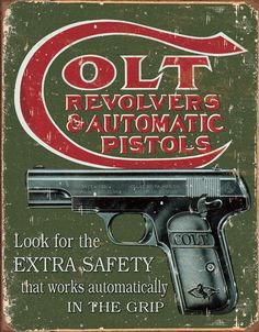 Antique Metal Signs | Country-and-primitive-wall-decor-Colt-Extra-Safety-Vintage-Tin-Sign