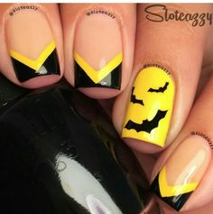 I am presenting before you 15 Halloween bat nails art designs & ideas of 2016 that you will love to apply, don't settle for big salons, try these nail art designs, they are so simple and yet so easy to be done by your own self. Get Nails, Fancy Nails, Pretty Nails, Hair And Nails, Batman Nail Art, Superhero Nails, Superhero Makeup, Pedicure, Seasonal Nails