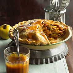 Mile-High Caramel Apple Pie Loaded with juicy apples, this luscious dessert recipe is drizzled with a gooey caramel topping.
