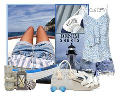 """""""short en jean"""" by frane-x ❤ liked on Polyvore featuring Été Swim, BC Footwear, Exclusive for Intermix, The Amazing Flameless Candle, Pedro García, Ray-Ban, jeanshorts, denimshorts and cutoffs"""