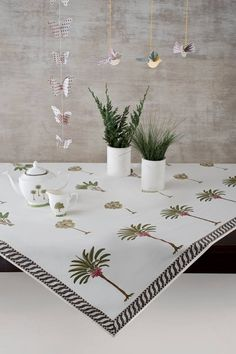 TIMELESS TROPICAL TABLELINEN Charming handblock printed table linen featuring the flora and fauna of Kerala, 'god's own country.' A vibrant revival of our most iconic design, the 'Periyar' table linen includes table cloths, mats & napkins. Discover the Periyar design story on our #WebBoutique . #EnchantedIndia #HandBlock #Periyar