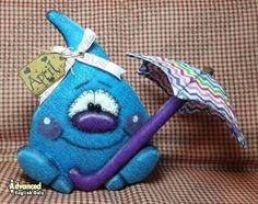 Just Dropping By Pattern - Primitive Doll Pattern - Spring - Raindrop - Umbrella - Whimsical - Fiber Art - English Only Primitive Doll Patterns, Supply List, Cover Pages, Pattern Paper, Wool Felt, Happy Shopping, Fiber Art, My Design, Toys