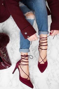 Very sexy shoes | burgundy lace up pumps