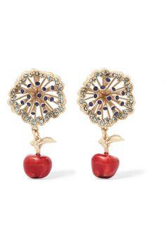 Valentino Valentino Woman Gold-tone Enamel Clip Earrings Red Size Jo6JKh3