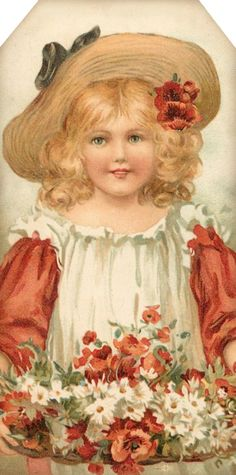 1907 Flower Maidens ~ girl with poppies & daisies ~ tag