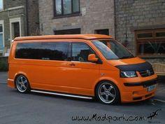Orange vw transporter #VolkswagenTransporter Vw Transporter Campervan, Vw T5, Vw Volkswagen, A Team Van, Vw Caravelle, T5 Camper, Top Cars, Car Brands, Buses