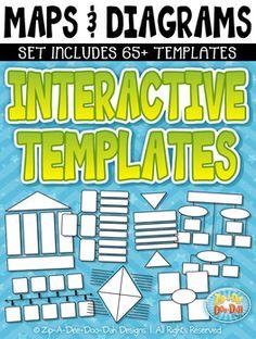 Maps & Diagrams Interactive Templates Set 2 — Includes 65+