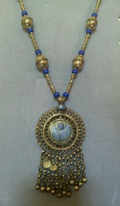 Blue Tribal Belly Dance Necklace with Pendant Dangles Kuchi Afghan ATS Vintage | eBay