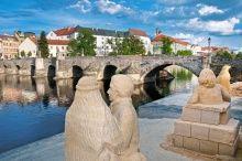 Písek - Kamenný most při pohledu z náplavky na levém břehu Otavy, foto: MÚ Písek Czech Republic, Southern, Country, Beautiful, Bohemia, Rural Area, Country Music