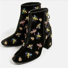 Zara Shoes - NWT Zara Beaded Velvet Ankle Boots Size 41/10