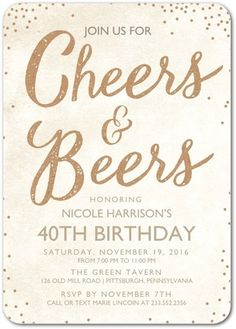 Cheers and Beers - Adult Birthday Party Invitations - Sarah Hawkins Designs - Almond - Neutral : Front