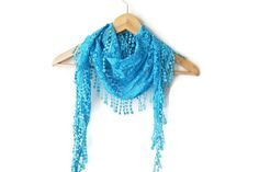 Turquoise Lace Scarf with lace fringelariat by SpecialFabrics