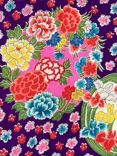 6547:1930s-50s Kimono Fabric, Deadstock Silk, Flowers, by Yard #instasew #japanesefabric #bulkkimono #instaquilt Kimono Fabric, Silk Fabric, Making Scarves, Traditional Design, Silk Flowers, Textile Art, 1930s, Purple, Pink