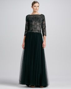 Lace-Bodice Tulle Gown, Black/Pale Pink
