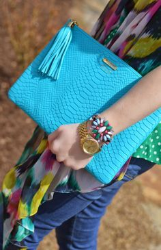 GiGi New York | Jimmy Choos and Tennis Shoes Fashion Blog | Aqua Uber Clutch