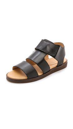 MM6 Maison Martin Margiela Leather Flat Sandals