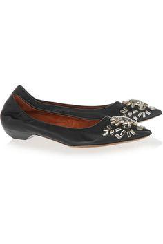Lanvin|Crystal-embellished leather point-toe flats|NET-A-PORTER.COM, $1085