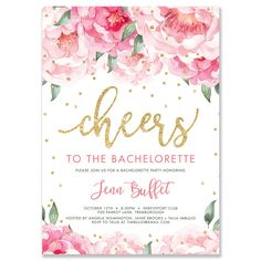 Gorgeous bachelorette party invitation to celebrate the soon-to-be-Mrs with blush pink watercolor peony blooms and gold glitter sprinkle confetti dots. Modern hand lettered calligraphy script in gold glitter. Coordinating envelopes and liners also available. Digibuddha Invitation + Paper Co.