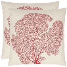 @Overstock.com.com - Reef 18-inch Beige/ Red Decorative Pillows (Set of 2) - The exotic allure of fan coral is accurately portrayed on these square decorative pillows. Done in a crisp linen and cotton blend, these pillows are accented with bold red stitching for a striking contrast. They are ideal for any ocean lover.  http://www.overstock.com/Home-Garden/Reef-18-inch-Beige-Red-Decorative-Pillows-Set-of-2/7110202/product.html?CID=214117 $53.99